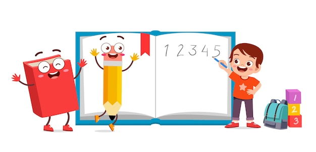 Scuola di bambino carino felice con libro e matita