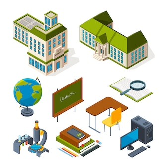 Scuola e istruzione isometrica. ritorno a scuola simboli 3d
