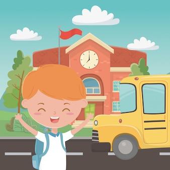 Scuola edificio autobus e ragazzo