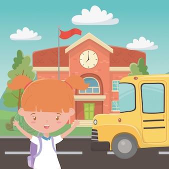 Scuola edificio bus e ragazza