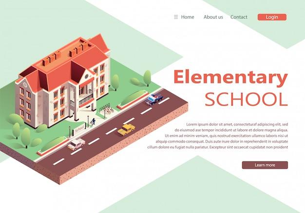 Scuola elementare moderna isometrica del sito web di atterraggio