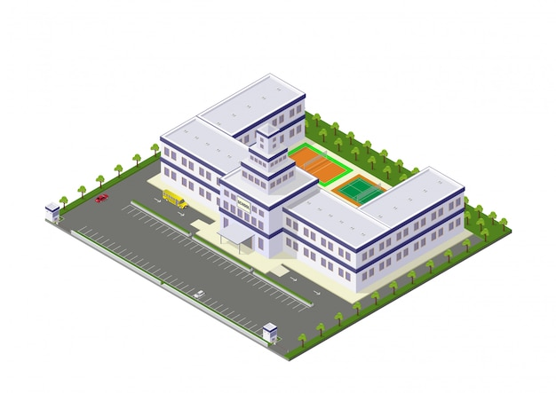 Scuola isometrica di vettore o edificio universitario