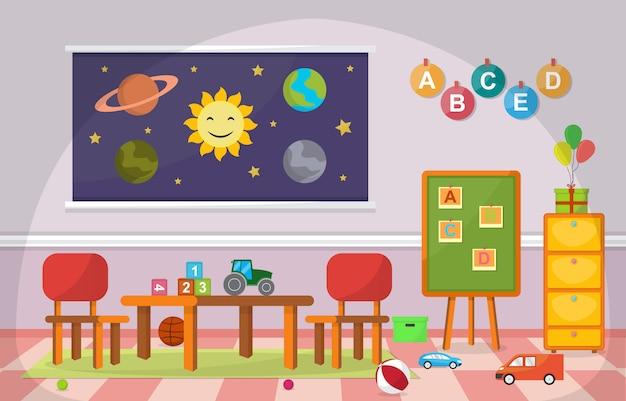 Scuola materna aula bambini bambini scuola giocattoli mobili