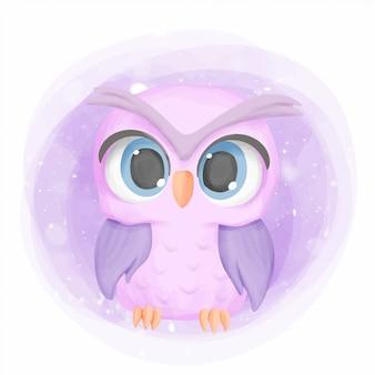 Scuola materna del fumetto di owl cute portrait del bambino
