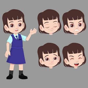 Scuola ragazza in uniforme in piedi e agitato con set di espressione del viso differenza