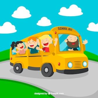 Scuolabus dei cartoni animati con bambini
