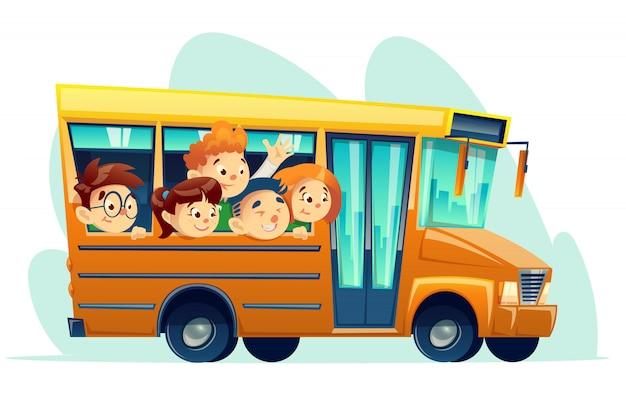 Scuolabus del fumetto pieno di bambini sorridenti