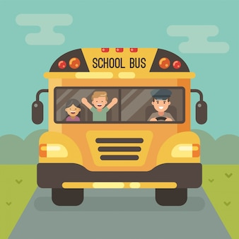 Scuolabus giallo sulla strada, vista frontale, con autista e due bambini. un ragazzo e una ragazza.
