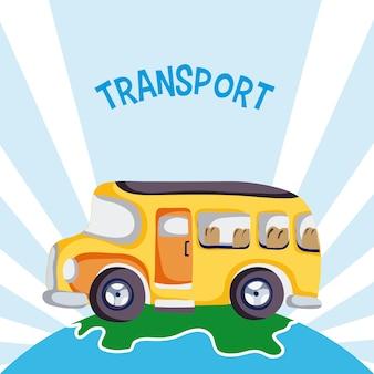 Scuolabus sopra progettazione grafica dell'illustrazione di vettore della terra