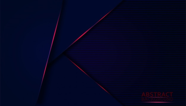 Scuro astratto con strati di sovrapposizione blu. forma moderna con decorazione a luce rossa scintillante.