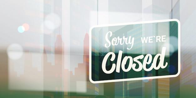 Scusate se siamo chiusi segno appeso al di fuori del negozio o del ristorante di un ufficio commerciale