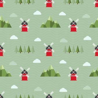 Seamless background modello di fattoria con mulino a vento rosso, moutain, albero e nuvola nel campo verde