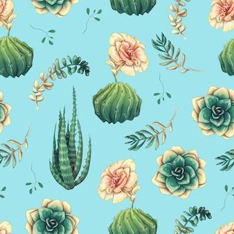 Seamless con cactus e succulente