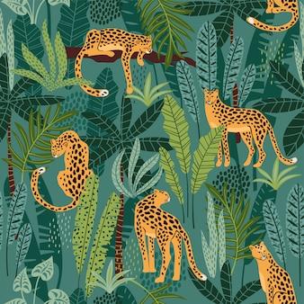 Seamless con leopardi e foglie tropicali.