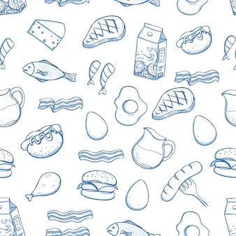 Seamless di gustoso pranzo cibo con stile doodle su bianco