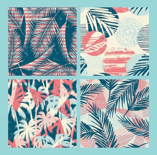 Seamless esotico con piante tropicali
