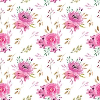 Seamless pattern acquerello rosa rosa