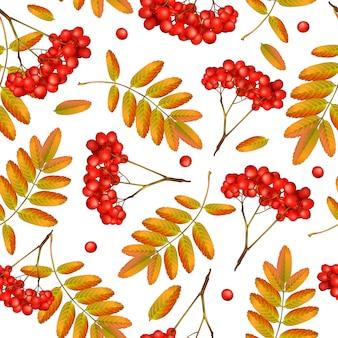 Seamless pattern autunnale con ramo di sorbo, foglie di arancio e bacche rosse.