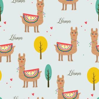 Seamless pattern bella lama