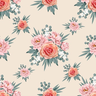 Seamless pattern bella rosa paeonia e rose