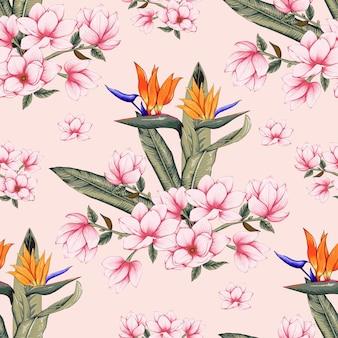 Seamless pattern botanico con fiori rosa magnolia e uccello del paradiso su colore pastello