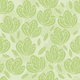 Seamless pattern carino con mano disegnare foglie verdi