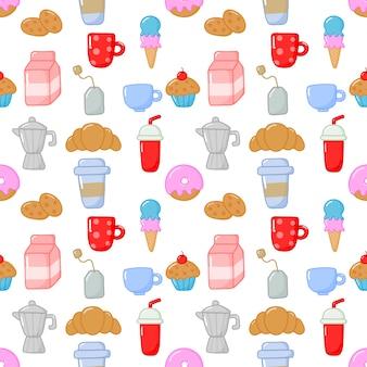 Seamless pattern carino divertente colazione cibo e bevande stile kawaii
