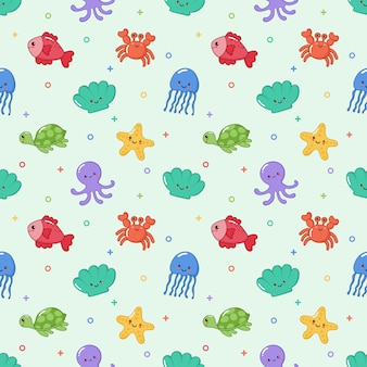Seamless pattern carino divertente mare e oceano animali cartoon