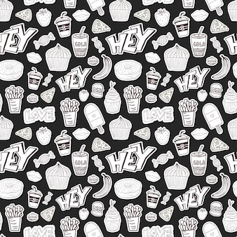 Seamless pattern cartoon con cibo. cartoon sfondo in stile alla moda