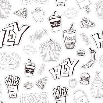 Seamless pattern cartoon con fast food