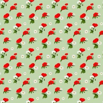 Seamless pattern con fiori di camomilla e papaveri