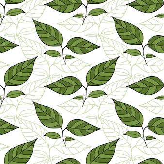 Seamless pattern con foglie di tè.