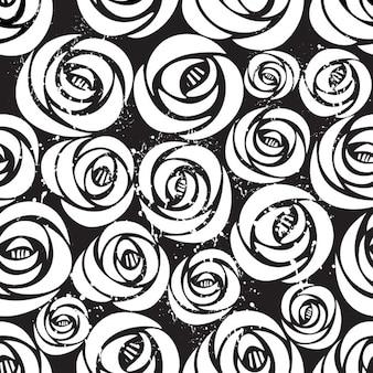 Seamless pattern con rose bianche su sfondo nero con illustrazione grunge natura vettoriale