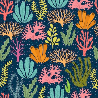 Seamless pattern di alghe. vettore marino di piante marine infinite