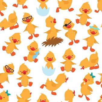 Seamless pattern di anatra bambino