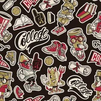 Seamless pattern di college vintage