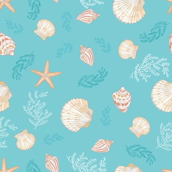 Seamless pattern di conchiglie.