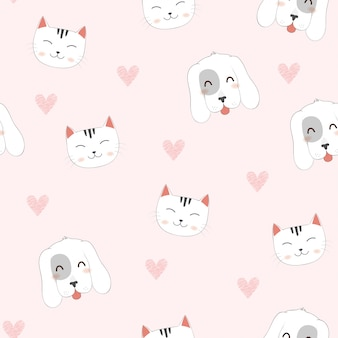 Seamless pattern di cute cartoon cat, dog.
