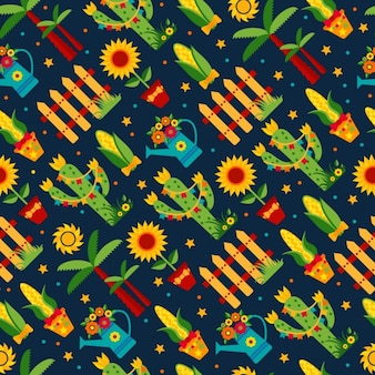 Seamless pattern di festa junina festa di paese in america latina icons set in colore brillante decorazione in stile piatto
