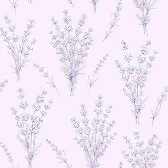Seamless pattern di fiori di lavanda.