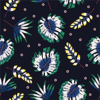 Seamless pattern di foglie tropicali