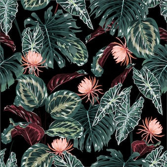 Seamless pattern di foresta tropicale
