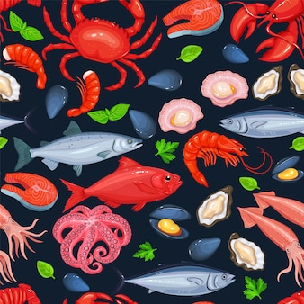 Seamless pattern di frutti di mare