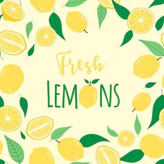 Seamless pattern di limone fresco