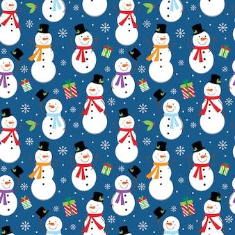 Seamless pattern di natale con simpatico pupazzo di neve