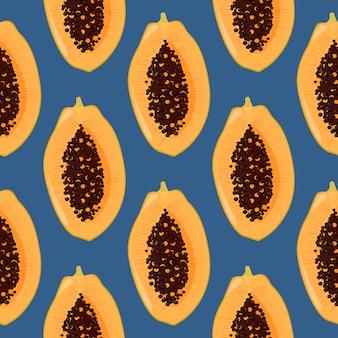 Seamless pattern di papaya fresca
