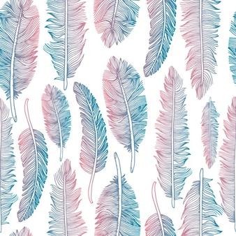 Seamless pattern di piume stile tribale di tessitura