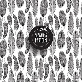 Seamless pattern di piume su bianco disegnato a mano illustrazione
