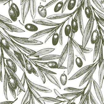 Seamless pattern di rami di ulivo
