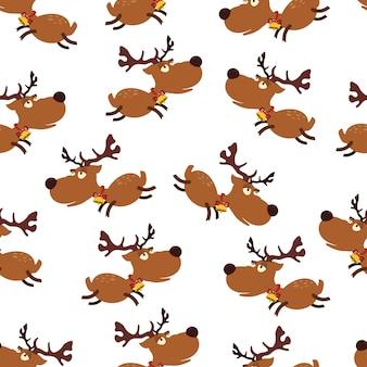 Seamless pattern di renne carta da parati vacanze vettoriale